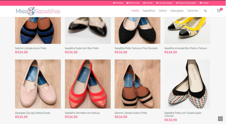 Página de Produtos loja virtual