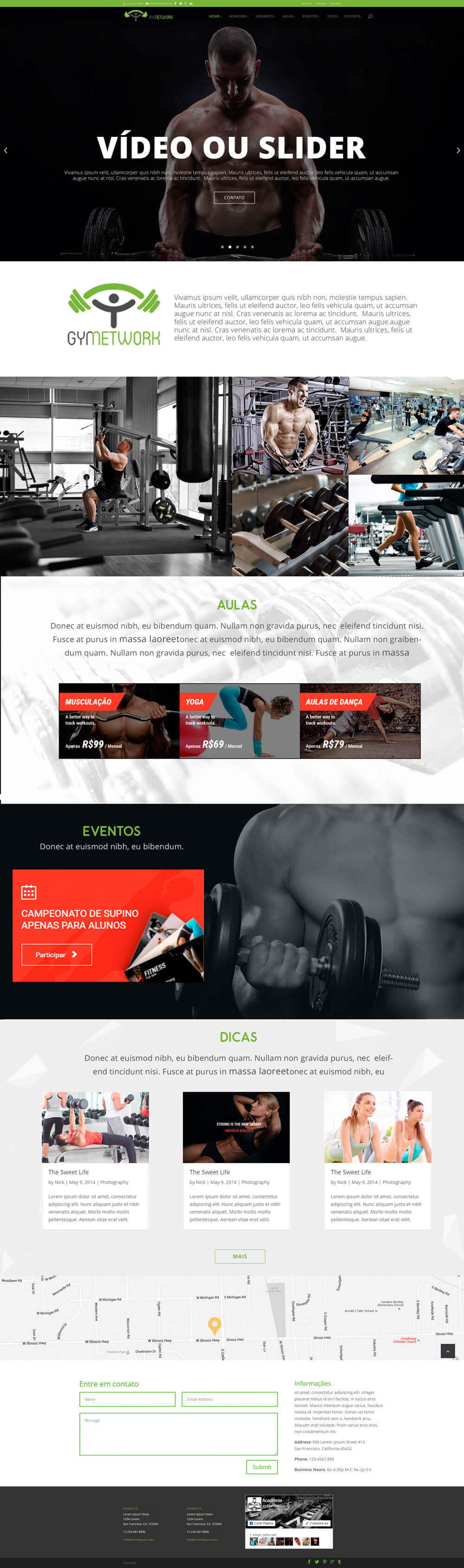 Exemplo de site para Academia