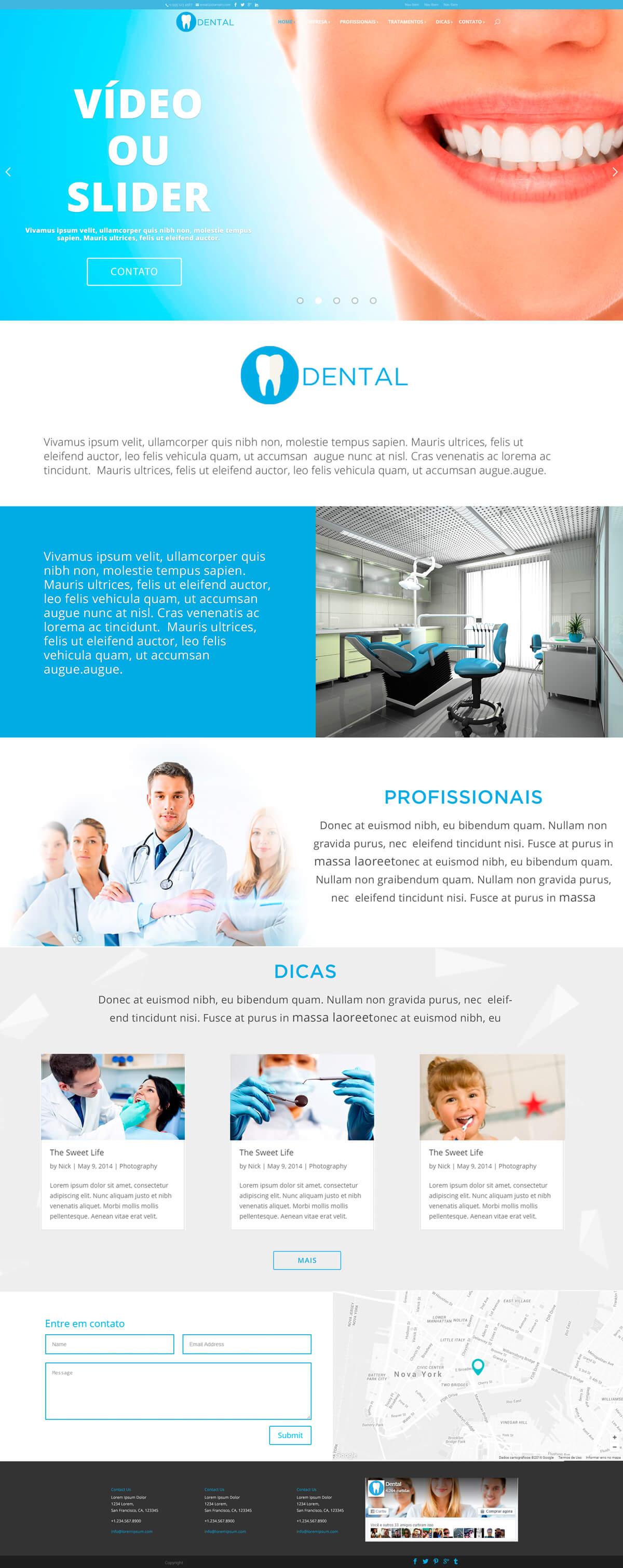 Exemplo de site para Dentistas